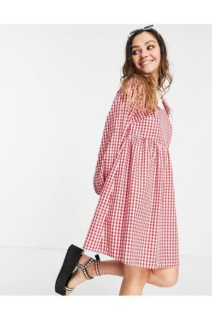 Vintage Supply Women Mini Dresses - Mini dress with puff sleeves in with contrast frill collar
