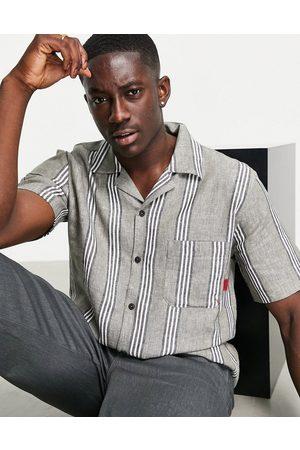 Cat Footwear Men Short sleeves - Caterpillar workwear short sleeve stripe shirt with revere collar in