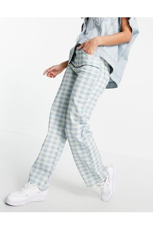 Kickers Straight leg jeans in vintage gingham denim-Blue