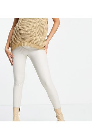 ASOS ASOS DESIGN Maternity over-the-bump band leather look leggings in -Neutral