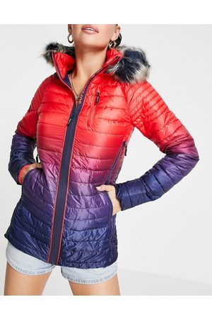 Superdry Sport Women Winter Jackets - Power fade ombre padded jacket with fur trim hood in red