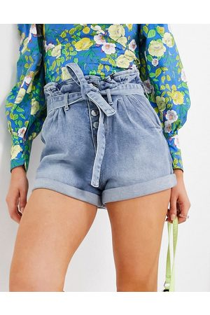 Morgan Women Shorts - Tie-waist denim short with paperbag waist in blue