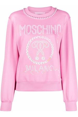 Moschino Women Printed Dresses - Logo-print pearl-embellished sweatshirt dress