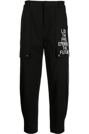Ports V Slogan-embroidered tapered trousers