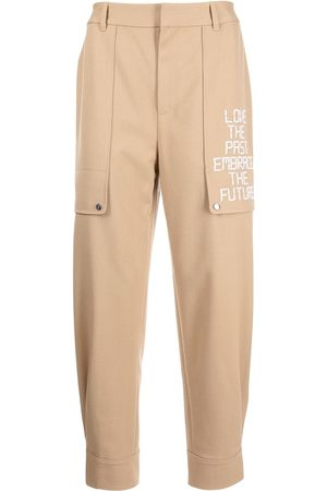 Ports V Men Formal Pants - Slogan-embroidered tapered trousers