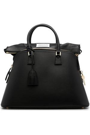 Maison Margiela Logo-patch zip-up leather tote bag