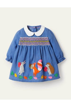 Boden Baby Evening Dresses - Appliqué Twill Smocked Dress Baby