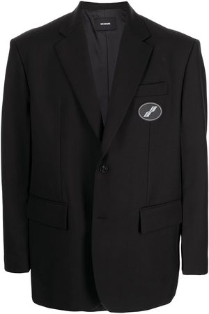 We11 Done Oversized suit logo-patch blazer