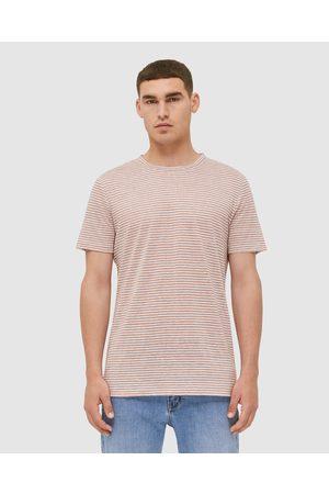 SABA SB Otto Short Sleeve Stripe Linen Tee - T-Shirts & Singlets (Copper) SB Otto Short Sleeve Stripe Linen Tee