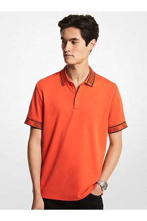 Michael Kors Mens Men Polo Shirts - MK Logo Tape Cotton Polo Shirt - Optic - Michael Kors