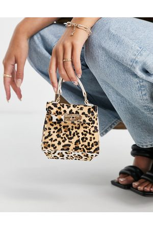 Truffle Collection Women Tote Bags - Micro mini leopard print tote bag with chain in leopard print