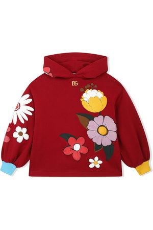 Dolce & Gabbana Kids Girls Hoodies - Floral-print cotton hoodie