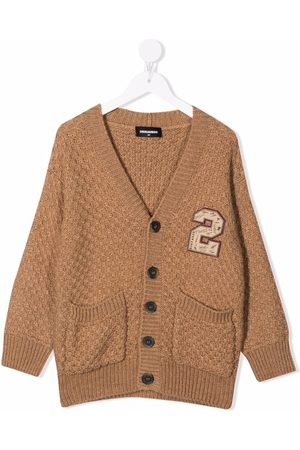 Dsquared2 Kids Embroidered badge textured-knit cardigan