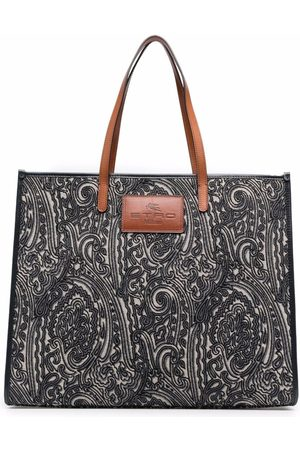ETRO Women Tote Bags - Logo-patch paisley-embroidered tote bag