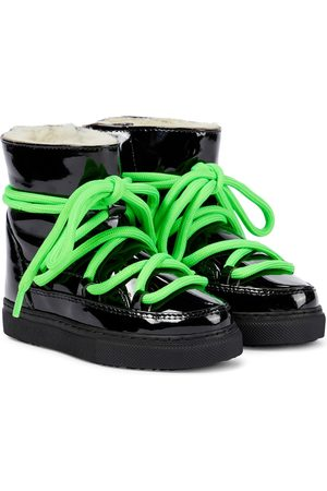 INUIKII Kids Shearling-trimmed patent leather boots