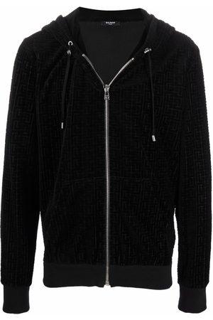Balmain Men Hoodies - Velvet zip-up hoodie