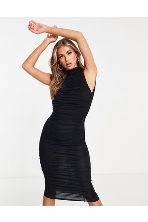 ASOS High neck double ruched midaxi dress in