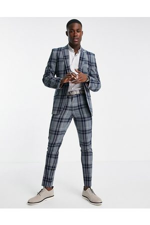ASOS Super skinny suit pants with tartan check in