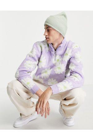ASOS Plush floral half zip jumper in -Purple