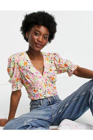 ASOS Short sleeve tea blouse in bright floral print