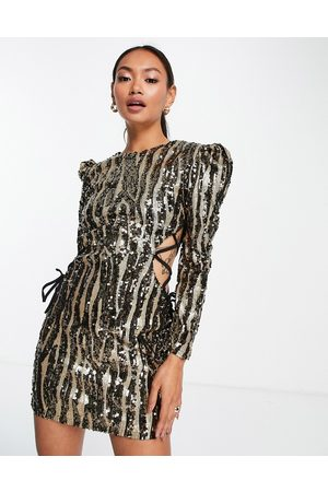 Virgos VL The Label lace sided sequin mini dress in -Silver