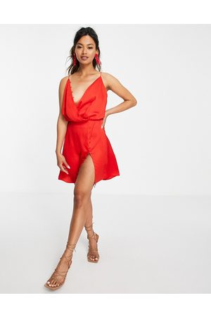 ASOS Bias-cut drape cami mini dress with button detail in