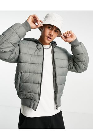 ASOS Hooded quilted bomber jacket in -Green