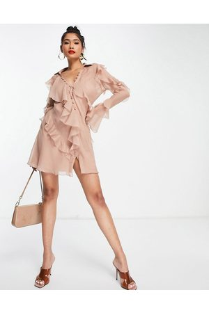 ASOS Bias-cut ruffle shirt mini dress