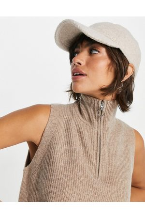 Whistles Knitted vest with half zip collar in -Neutral