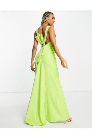 Goddiva Racer front maxi dress in -Green