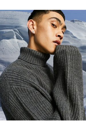 ASOS Knitted oversized fisherman rib roll- neck jumper in -Grey