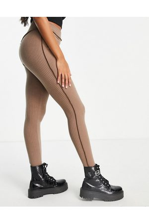 ASOS DESIGN Hourglass exclusive rib legging (part of a co-ord) with exposed seam in