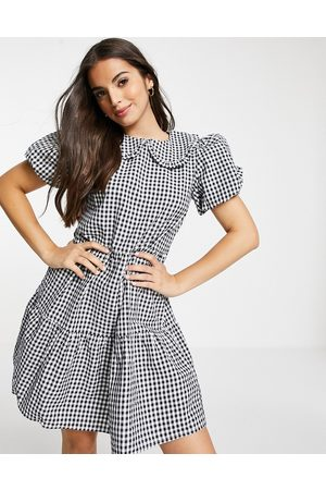 Influence Mini dress with collar in navy gingham