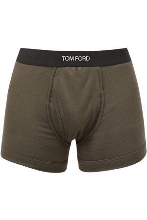 Tom Ford Men Boxer Shorts - Logo-jacquard Cotton-blend Jersey Trunks - Mens - Dark Khaki