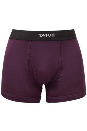 Tom Ford Men Boxer Shorts - Logo-jacquard Cotton-blend Jersey Trunks - Mens