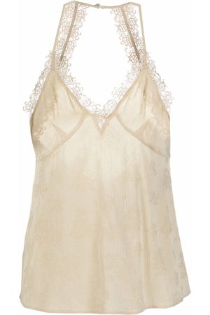 Pinko Women Tank Tops - Embroidered-detail V-neck top