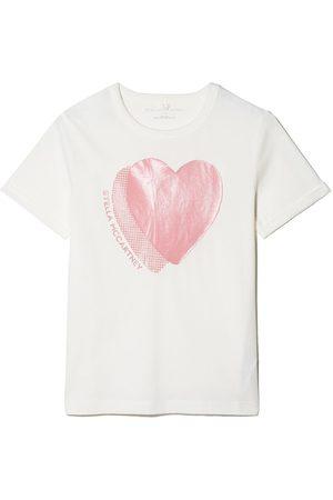 Stella McCartney Girls Short Sleeve - Heart-print cotton T-shirt