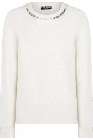 Dolce & Gabbana Embellished neckline fine knit jumper