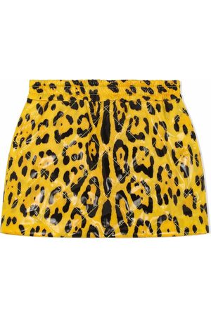 Dolce & Gabbana Kids Girls Printed Skirts - Leopard-print mini skirt