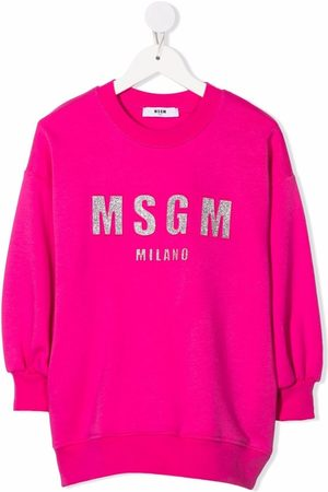 Msgm Girls Printed Dresses - Logo-print sweat dress