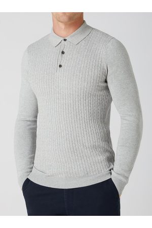 Remus Cable-Knit Long-Sleeved Knitted Polo Shirt