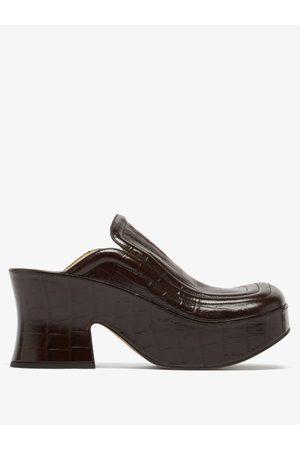 Bottega Veneta Wedge Crocodile-effect Leather Clogs - Womens