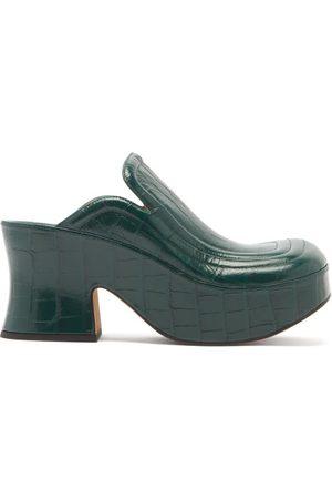 Bottega Veneta Women Mules - Wedge Crocodile-effect Leather Clog Mules - Womens