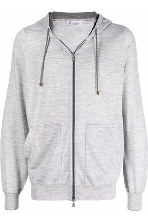 Brunello Cucinelli Men Hoodies - Zip-up wool hoodie