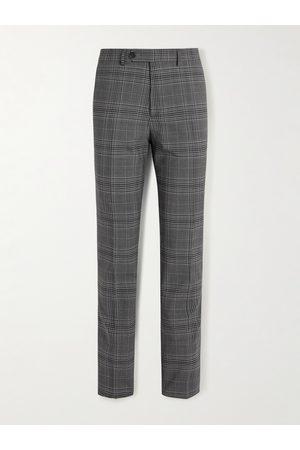 Mr P. Men Skinny Pants - Slim-Fit Checked Virgin Wool-Blend Trousers