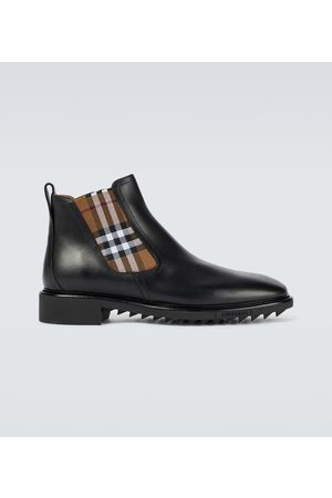 Burberry Men Boots - Checked Chelsea leather boots