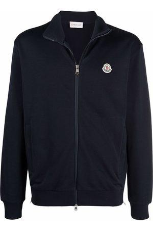 Moncler Men Sweatshirts - Logo-patch zip-up sweatshirt