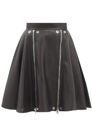 Alexander McQueen Women Leather Skirts - Zipped Leather Suit Skirt - Womens