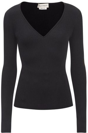 Alexander McQueen V-neck Ribbed-jersey Sweater - Womens