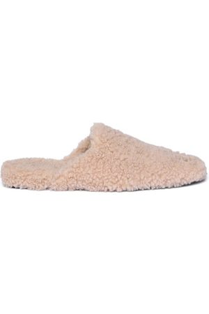 Balenciaga Cosy Bb-plaque Backless Shearling Loafers - Womens